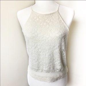 LA Hearts crochet crop top sheer back M
